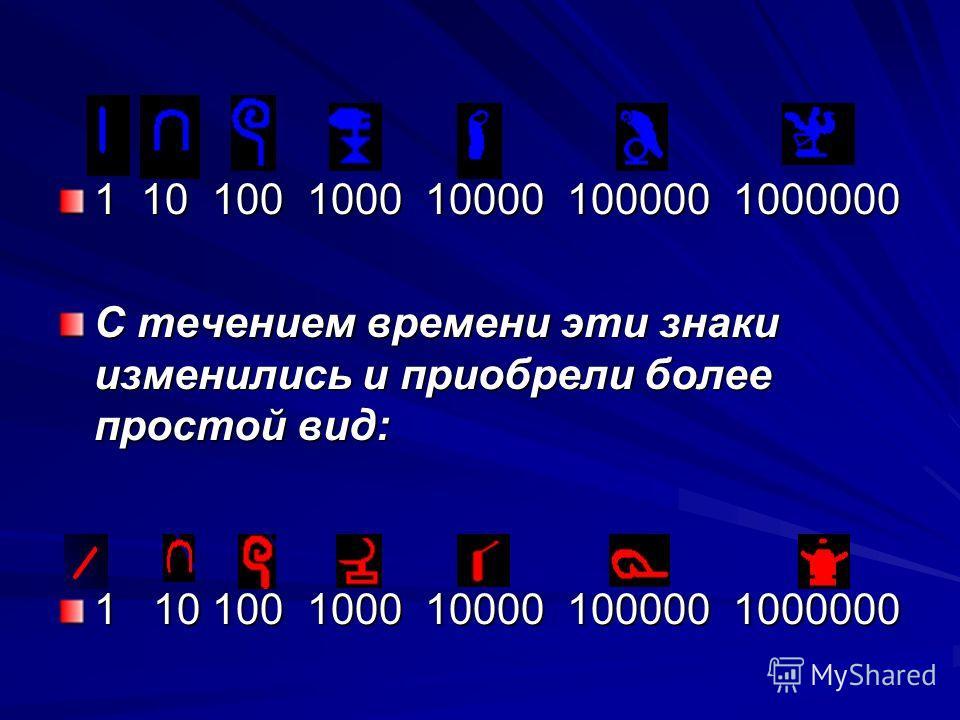 1 10 100 1000 10000 100000 1000000 С течением времени эти знаки изменились и приобрели более простой вид: 1 10 100 1000 10000 100000 1000000