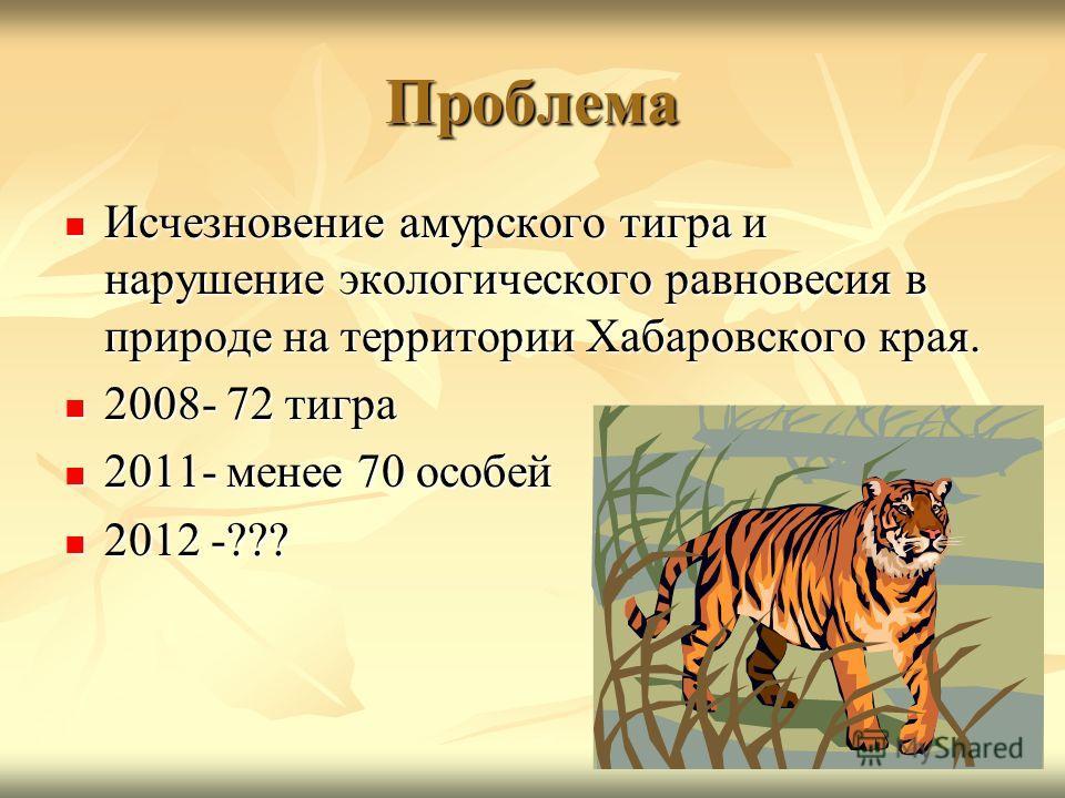 Проблема Исчезновение амурского тигра и нарушение экологического равновесия в природе на территории Хабаровского края. Исчезновение амурского тигра и нарушение экологического равновесия в природе на территории Хабаровского края. 2008- 72 тигра 2008-