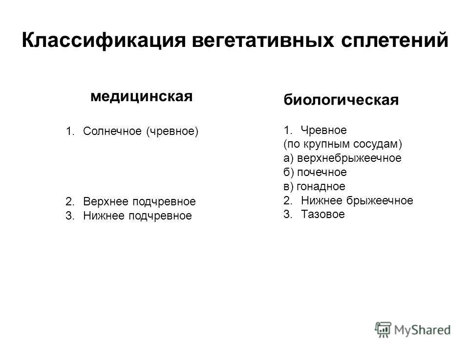 Классификация вегетативных сплетений медицинская 1.Солнечное (чревное) 2.Верхнее подчревное 3.Нижнее подчревное биологическая 1.Чревное (по крупным сосудам) а) верхнебрыжеечное б) почечное в) гонадное 2.Нижнее брыжеечное 3.Тазовое