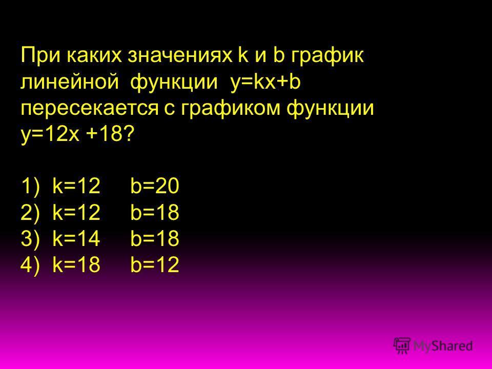 При каких значениях k и b график линейной функции у=kx+b пересекается с графиком функции у=12х +18? 1) k=12 b=20 2) k=12 b=18 3) k=14 b=18 4) k=18 b=12