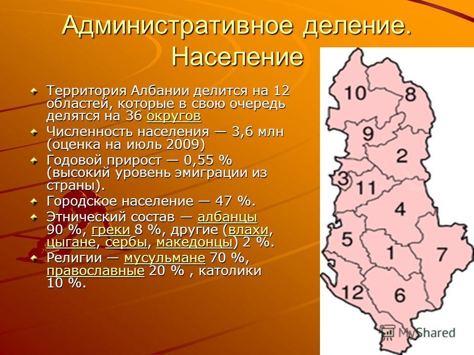 Административное деление. Население Территория Албании делится на 12 областей, которые в свою очередь делятся на 36 округов округов Численность населения 3,6 млн (оценка на июль 2009) Годовой прирост 0,55 % (высокий уровень эмиграции из страны). Горо