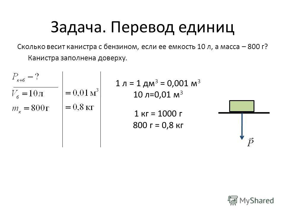 Задача. Перевод единиц Сколько весит канистра с бензином, если ее емкость 10 л, а масса – 800 г? Канистра заполнена доверху. 1 л = 1 дм 3 = 0,001 м 3 10 л=0,01 м 3 1 кг = 1000 г 800 г = 0,8 кг