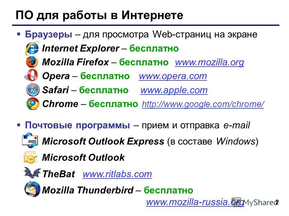 2 ПО для работы в Интернете Браузеры – для просмотра Web-страниц на экране Internet Explorer – бесплатно Mozilla Firefox – бесплатно www.mozilla.orgwww.mozilla.org Opera – бесплатно www.opera.comwww.opera.com Safari – бесплатно www.apple.comwww.apple