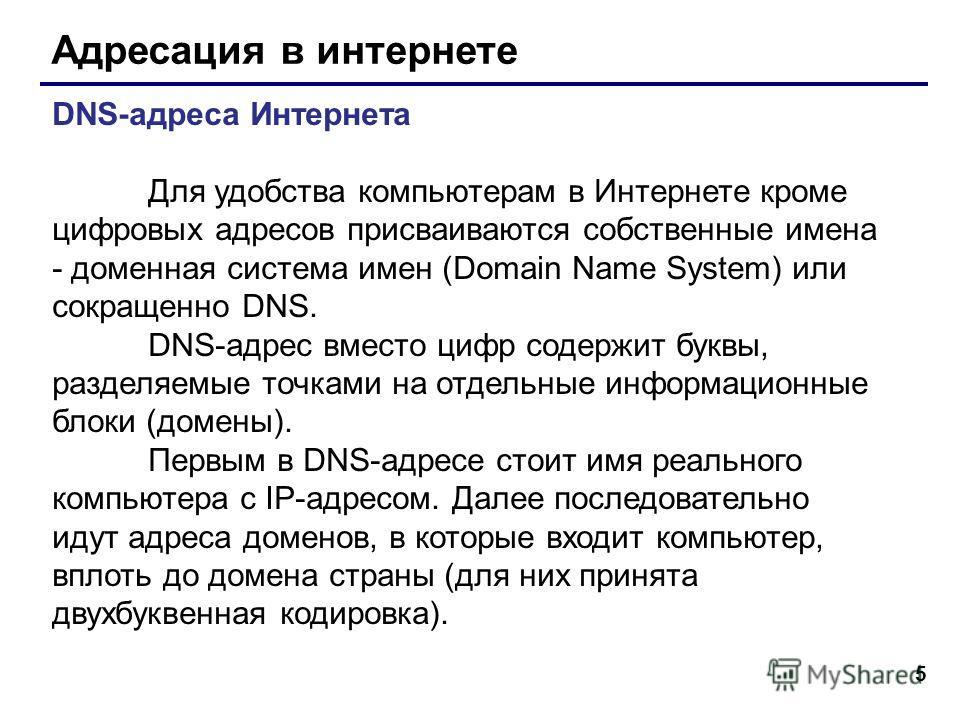 5 Адресация в интернете DNS-адреса Интернета Для удобства компьютерам в Интернете кроме цифровых адресов присваиваются собственные имена - доменная система имен (Domain Name System) или сокращенно DNS. DNS-адрес вместо цифр содержит буквы, разделяемы