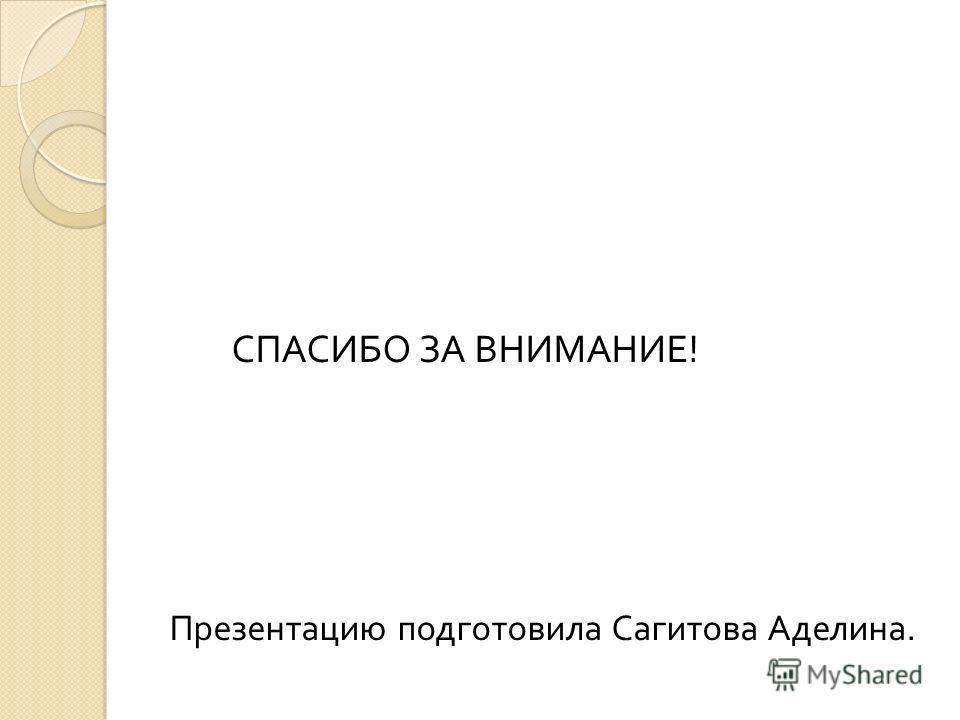 СПАСИБО ЗА ВНИМАНИЕ ! Презентацию подготовила Сагитова Аделина.