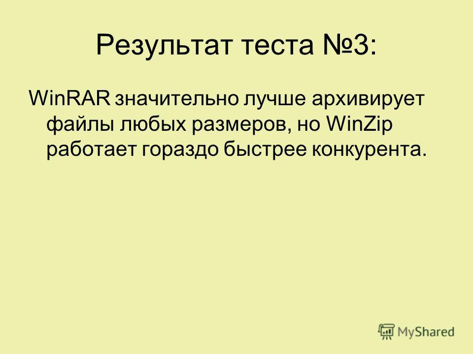 Результат теста 3: WinRAR значительно лучше архивирует файлы любых размеров, но WinZip работает гораздо быстрее конкурента.
