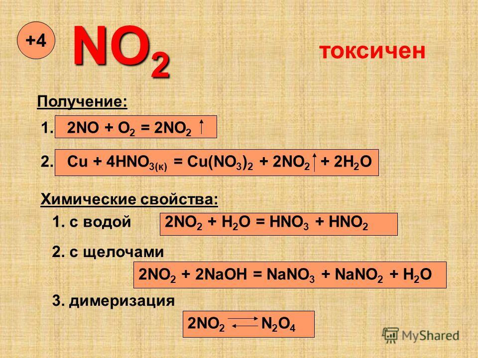 NO 2 +4+4 Получение: 1. 2NO + O 2 = 2NO 2 2. Cu + 4HNO 3(к) = Cu(NO 3 ) 2 + 2NO 2 + 2H 2 O Химические свойства: 1. с водой2NO 2 + H 2 O = HNO 3 + HNO