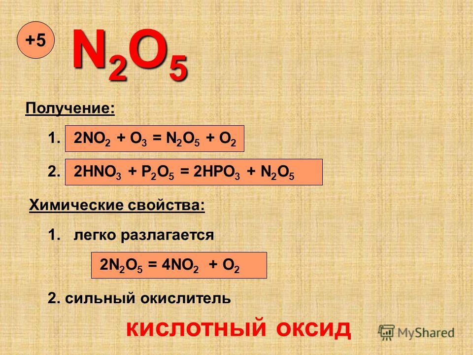 N2O5N2O5N2O5N2O5 +5+5 Получение: 1. 2NO 2 + O 3 = N 2 O 5 + O 2 2. 2HNO 3 + P 2 O 5 = 2HPO 3 + N 2 O 5 Химические свойства: 1. легко разлагается 2N 2