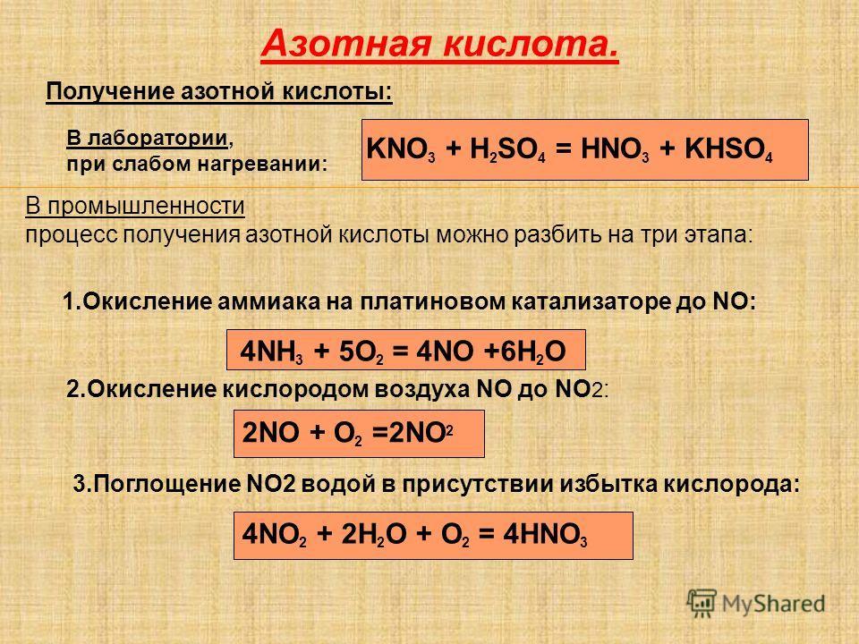 Азотная кислота. Получение азотной кислоты: KNO 3 + H 2 SO 4 = HNO 3 + KHSO 4 В лаборатории, при слабом нагревании: В промышленности процесс получения азотной кислоты можно разбить на три этапа: 1.Окисление аммиака на платиновом катализаторе до NO: 4