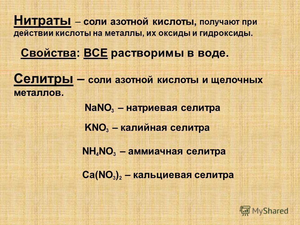 Нитраты – соли азотной кислоты, получают при действии кислоты на металлы, их оксиды и гидроксиды. Селитры – соли азотной кислоты и щелочных металлов.