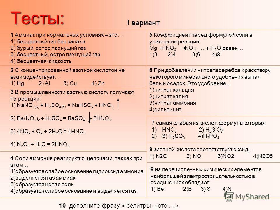 1 Аммиак при нормальных условиях – это… 1) бесцветный газ без запаха 2) бурый, остро пахнущий газ 3) бесцветный, остро пахнущий газ 4) бесцветная жидкостьТесты: 2 С концентрированной азотной кислотой не взаимодействует… 1) Hg 2) Al 3) Cu 4) Zn 3 В пр