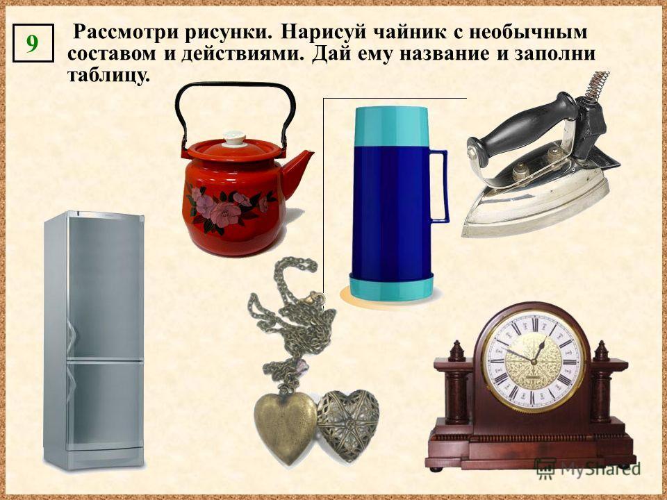 Рассмотри рисунки. Нарисуй чайник с необычным составом и действиями. Дай ему название и заполни таблицу. 9