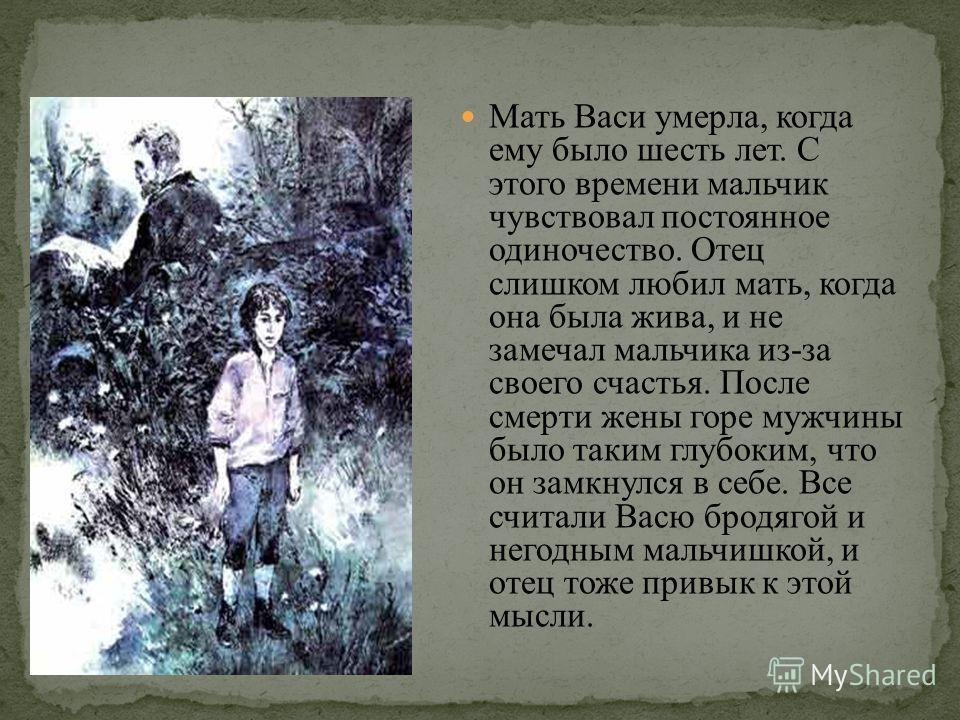 Мать Васи умерла, когда ему было шесть лет. С этого времени мальчик чувствовал постоянное одиночество. Отец слишком любил мать, когда она была жива, и не замечал мальчика из-за своего счастья. После смерти жены горе мужчины было таким глубоким, что о
