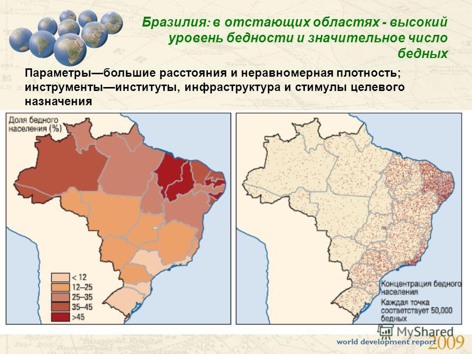 Бразилия : в отстающих областях - высокий уровень бедности и значительное число бедных Параметрыбольшие расстояния и неравномерная плотность; инструментыинституты, инфраструктура и стимулы целевого назначения