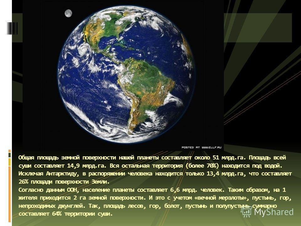 Общая площадь земной поверхности нашей планеты составляет около 51 млрд.га. Площадь всей суши составляет 14,9 млрд.га. Вся остальная территория (более 70%) находится под водой. Исключая Антарктиду, в распоряжении человека находится только 13,4 млрд.г