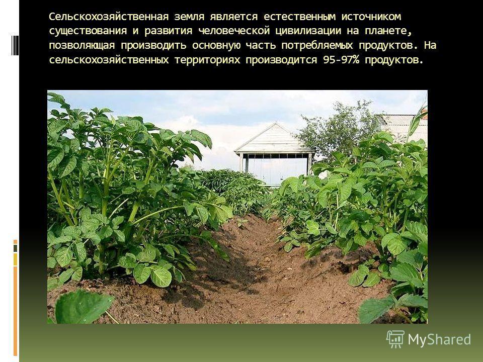 Сельскохозяйственная земля является естественным источником существования и развития человеческой цивилизации на планете, позволяющая производить основную часть потребляемых продуктов. На сельскохозяйственных территориях производится 95-97% продуктов