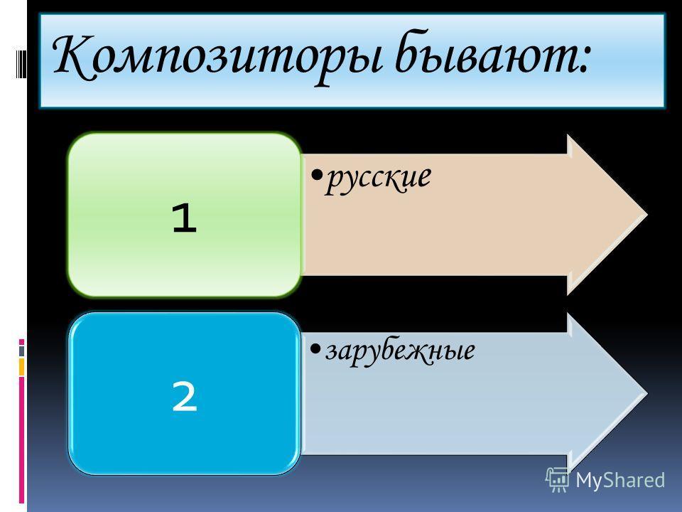 Композиторы бывают: русски е 1 зарубежные 2
