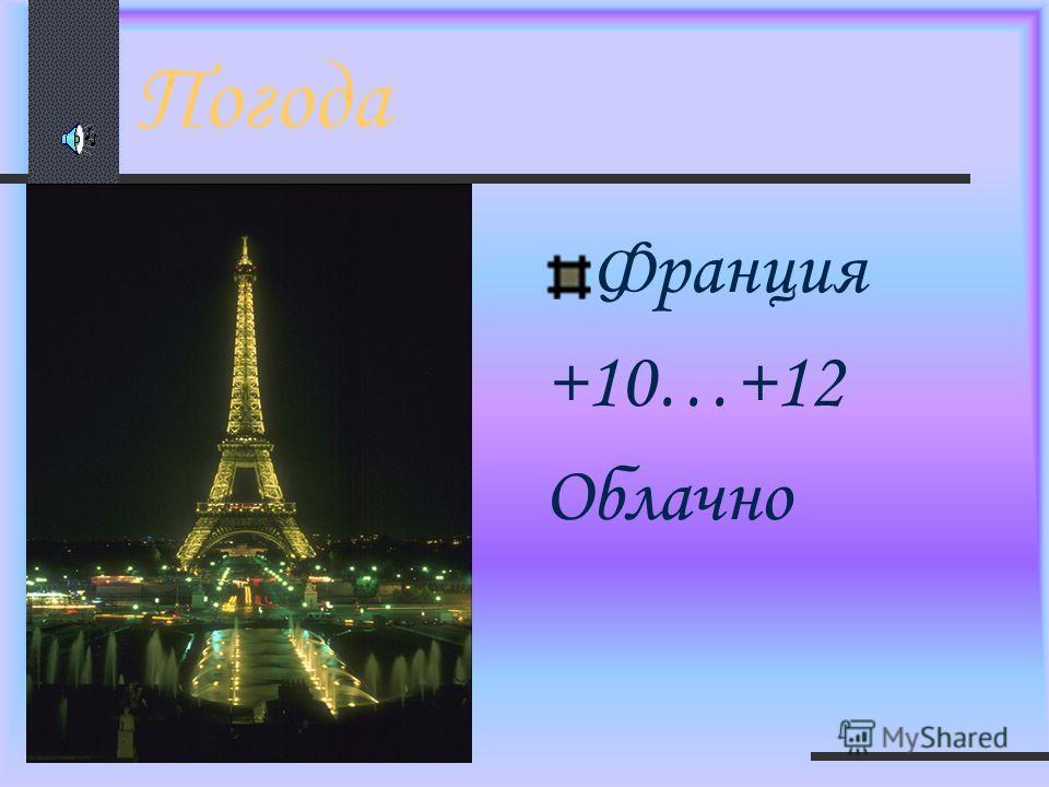 Погода Франция +10…+12 Облачно