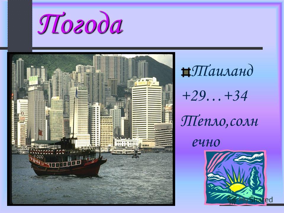 Погода Таиланд +29…+34 Тепло,солн ечно