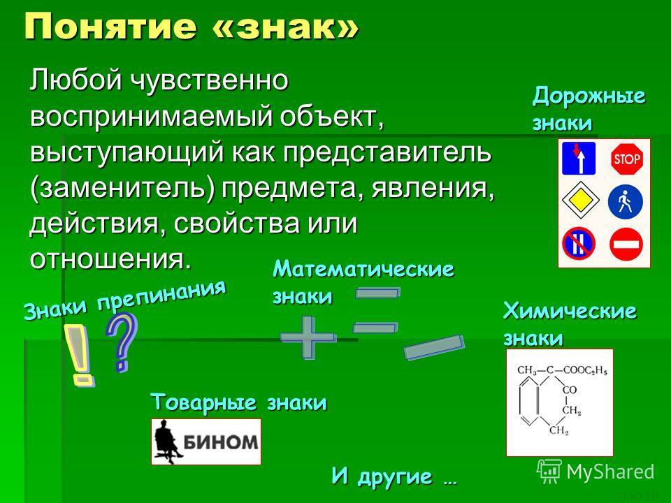 11 из 10 Понятие «знак» Любой чувственно воспринимаемый объект, выступающий как представитель (заменитель) предмета, явления, действия, свойства или отношения. Дорожные знаки Математические знаки Знаки препинания Химические знаки Товарные знаки И дру