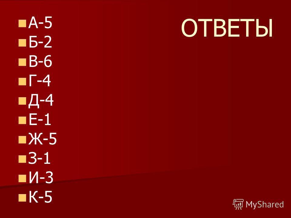 ОТВЕТЫ А-5 Б-2 В-6 Г-4 Д-4 Е-1 Ж-5 З-1 И-3 К-5