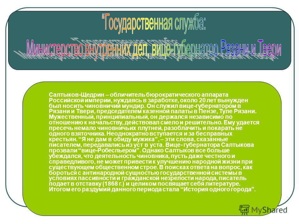 Салтыков-Щедрин – обличитель бюрократического аппарата Российской империи, нуждаясь в заработке, около 20 лет вынужден был носить чиновничий мундир. Он служил вице-губернатором в Рязани и Твери, председателем казенной палаты в Пензе, Туле Рязани. Муж