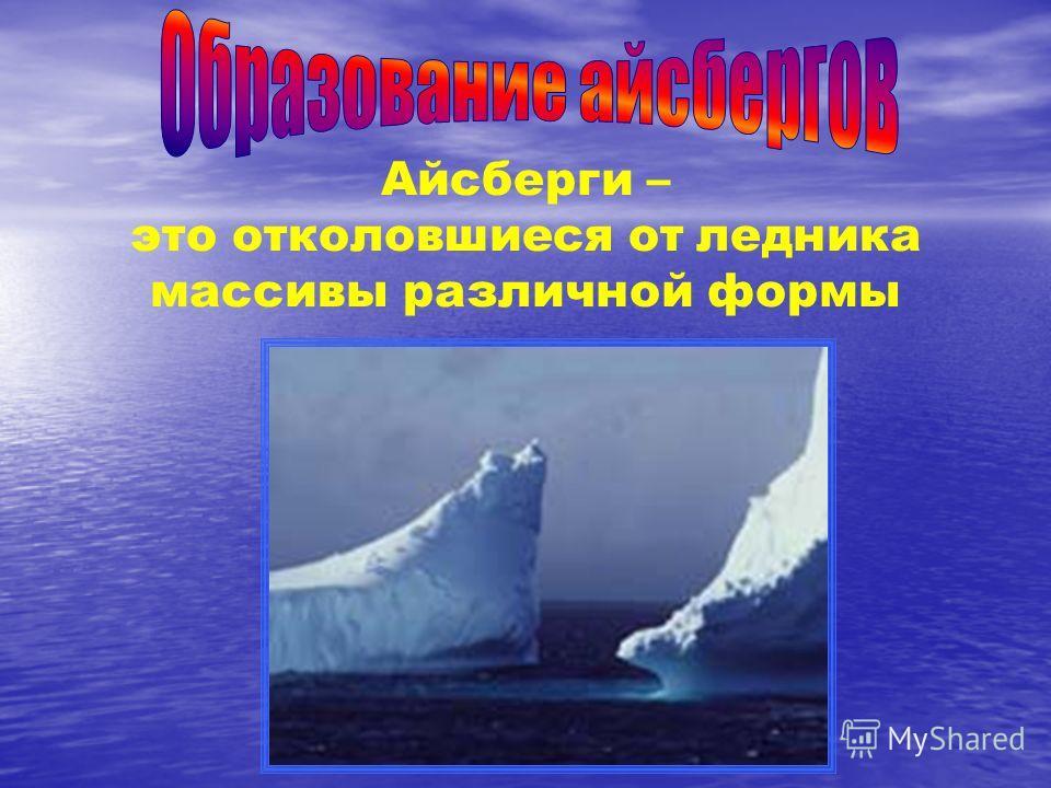 Айсберги – это отколовшиеся от ледника массивы различной формы
