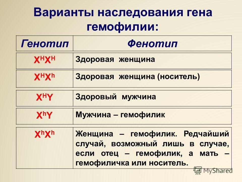 Варианты наследования гена гемофилии: ГенотипФенотип XHXHXHXH Здоровая женщина XHXhXHXh Здоровая женщина (носитель) XHYXHY Здоровый мужчина XhYXhY Мужчина – гемофилик XhXhXhXh Женщина – гемофилик. Редчайший случай, возможный лишь в случае, если отец