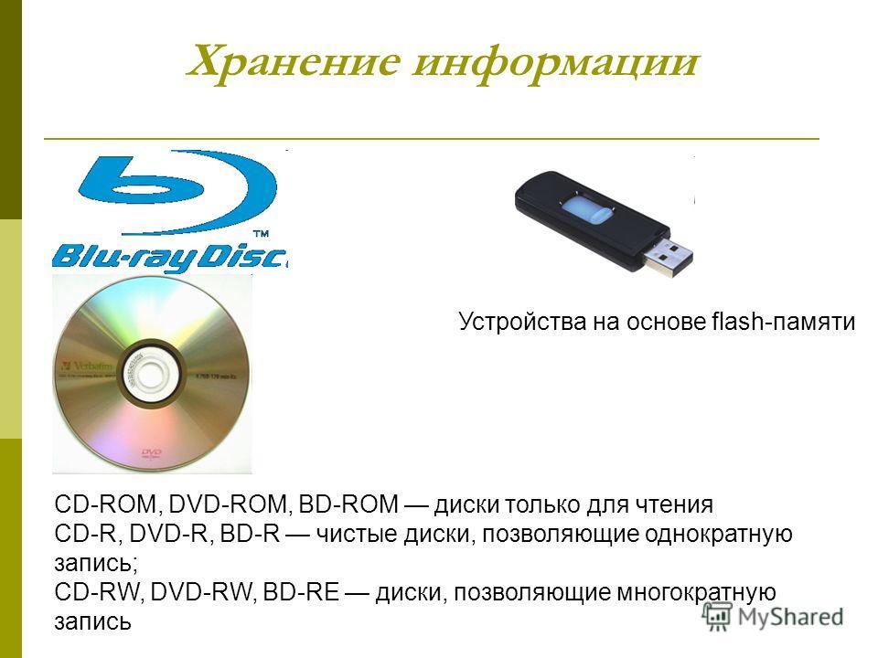 Хранение информации CD-ROM, DVD-ROM, BD-ROM диски только для чтения CD-R, DVD-R, BD-R чистые диски, позволяющие однократную запись; CD-RW, DVD-RW, BD-RE диски, позволяющие многократную запись Устройства на основе flash-памяти