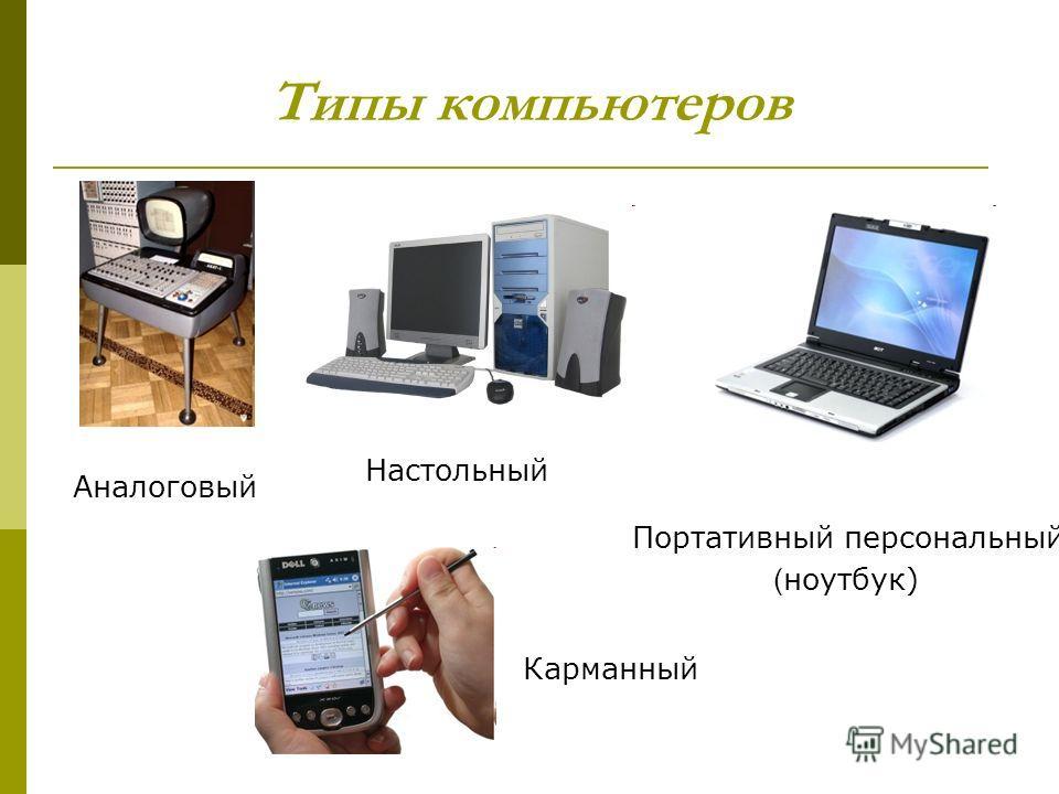 Типы компьютеров Аналоговый Настольный Портативный персональный ( ноутбук) Карманный