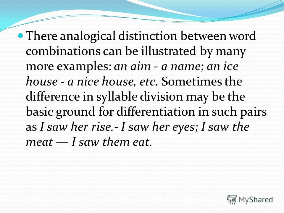 There analogical distinction between word combinations can be illustrated by many more examples: an aim - a name; an ice house - a nice house, etc. Sometimes the difference in syllable division may be the basic ground for differentiation in such pair