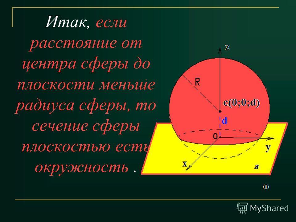 Итак, если расстояние от центра сферы до плоскости меньше радиуса сферы, то сечение сферы плоскостью есть окружность.