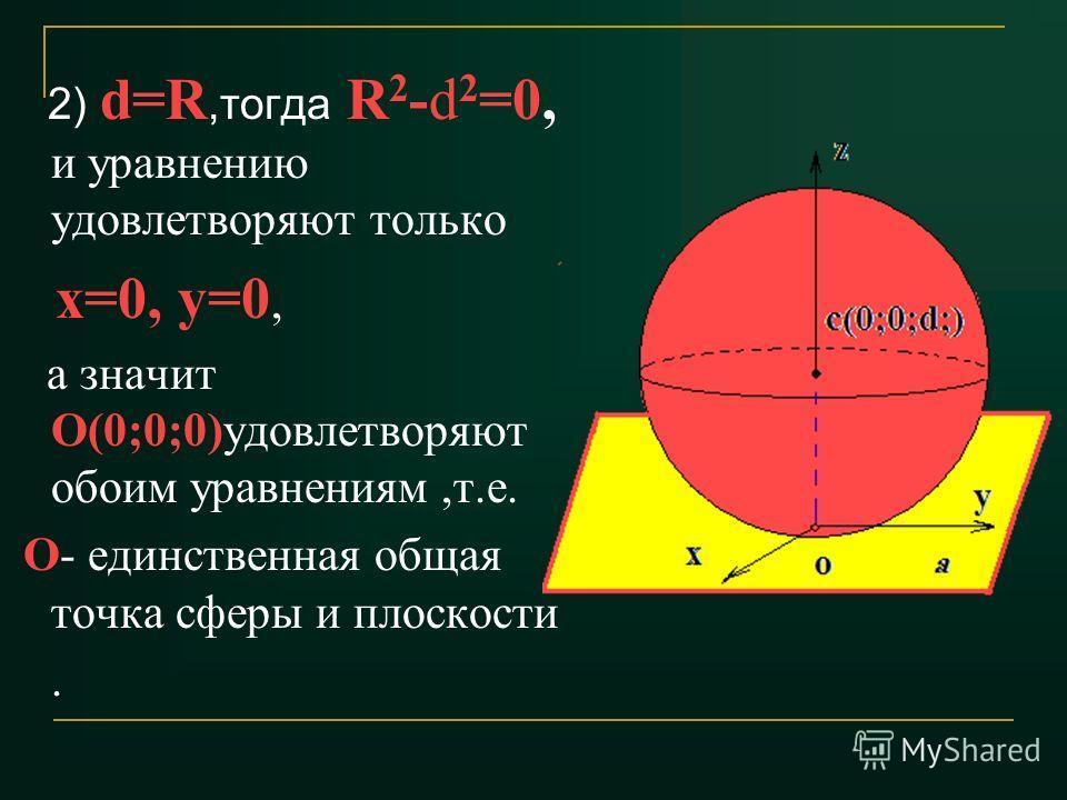 2) d=R,тогда R 2 -d 2 =0, и уравнению удовлетворяют только х=0, у=0, а значит О(0;0;0)удовлетворяют обоим уравнениям,т.е. О- единственная общая точка сферы и плоскости.