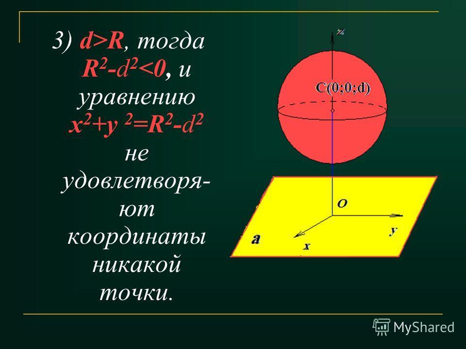 3) d>R, тогда R 2 -d 2