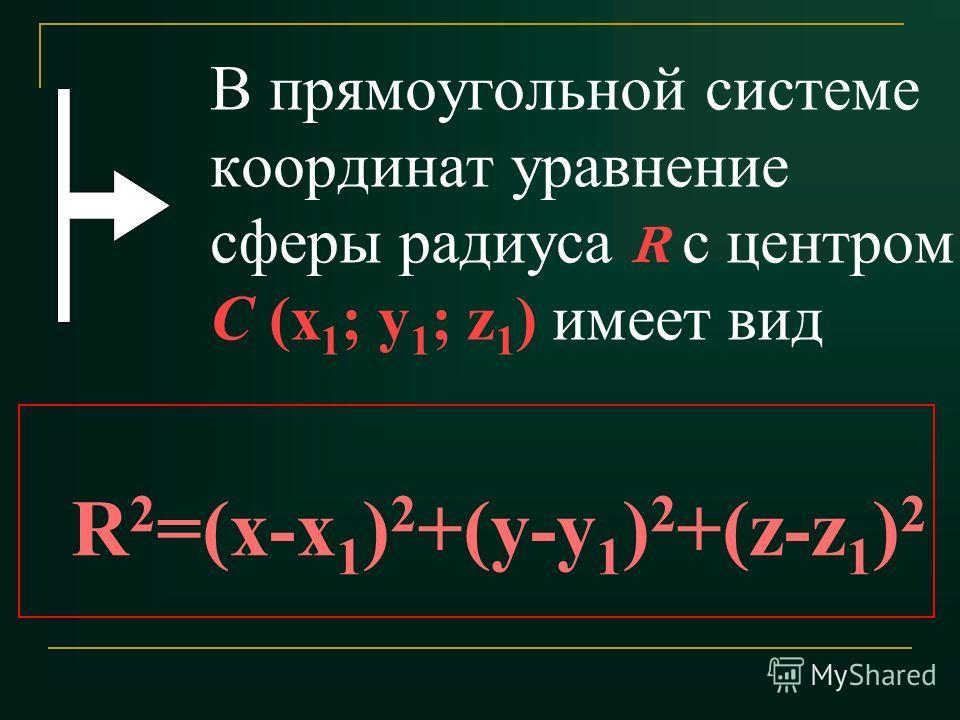 В прямоугольной системе координат уравнение сферы радиуса R с центром С (x 1 ; y 1 ; z 1 ) имеет вид R 2 =(x-x 1 ) 2 +(y-y 1 ) 2 +(z-z 1 ) 2
