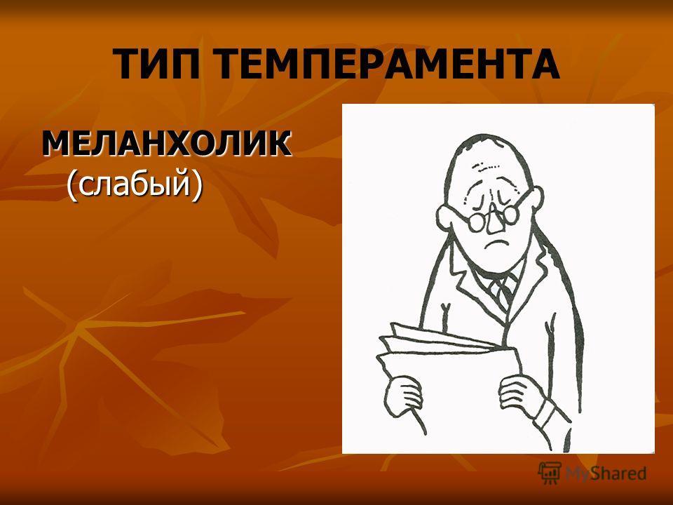 ТИП ТЕМПЕРАМЕНТА МЕЛАНХОЛИК (слабый)