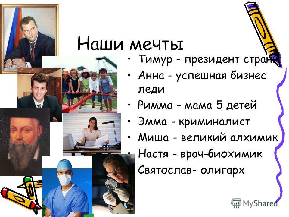 Наши мечты Тимур - президент страны Анна - успешная бизнес леди Римма - мама 5 детей Эмма - криминалист Миша - великий алхимик Настя - врач-биохимик Святослав- олигарх