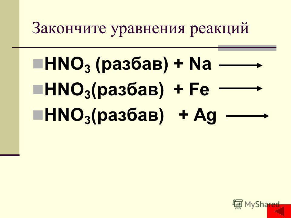 Закончите уравнения реакций HNO 3 (разбав) + Na HNO 3 (разбав) + Fe HNO 3 (разбав) + Ag