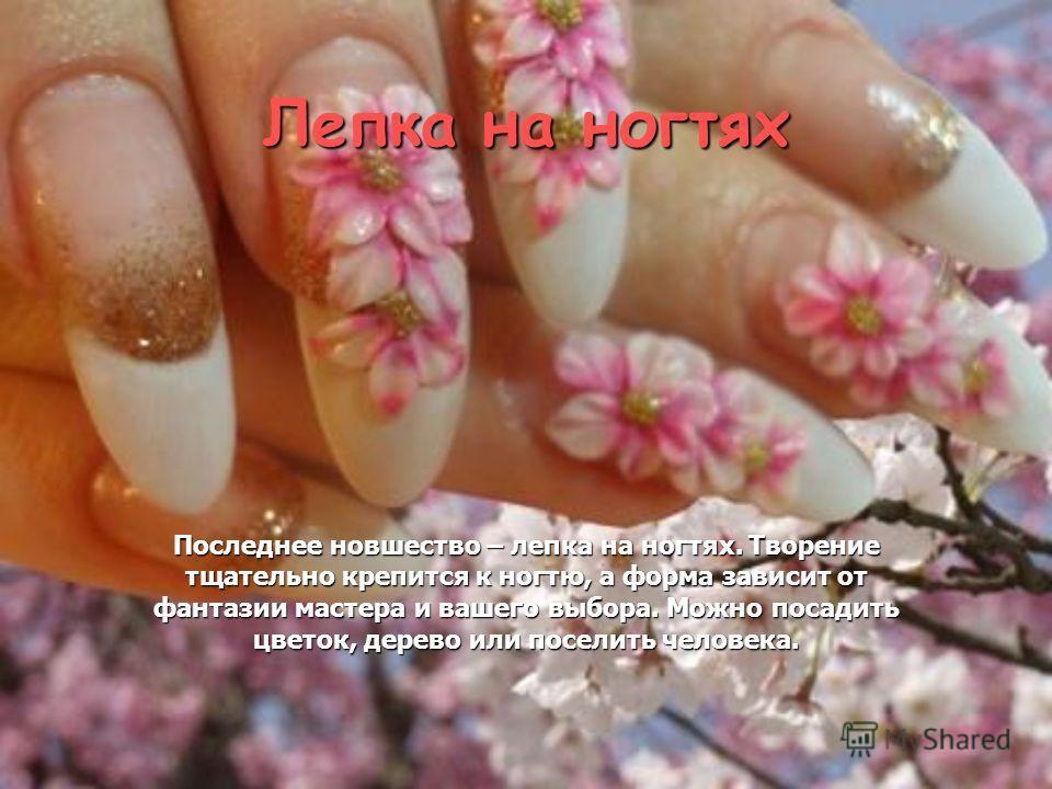 Лепка на ногтях Последнее новшество – лепка на ногтях. Творение тщательно крепится к ногтю, а форма зависит от фантазии мастера и вашего выбора. Можно посадить цветок, дерево или поселить человека.