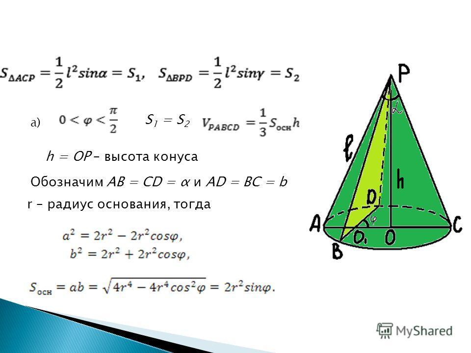 а) S 1 = S 2 h = OP – высота конуса Обозначим AB = CD = α и AD = BC = b r – радиус основания, тогда