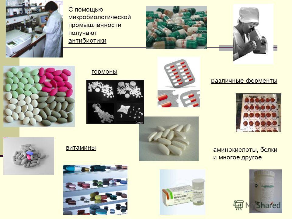 9 С помощью микробиологической промышленности получают антибиотики гормоны различные ферменты витамины аминокислоты, белки и многое другое