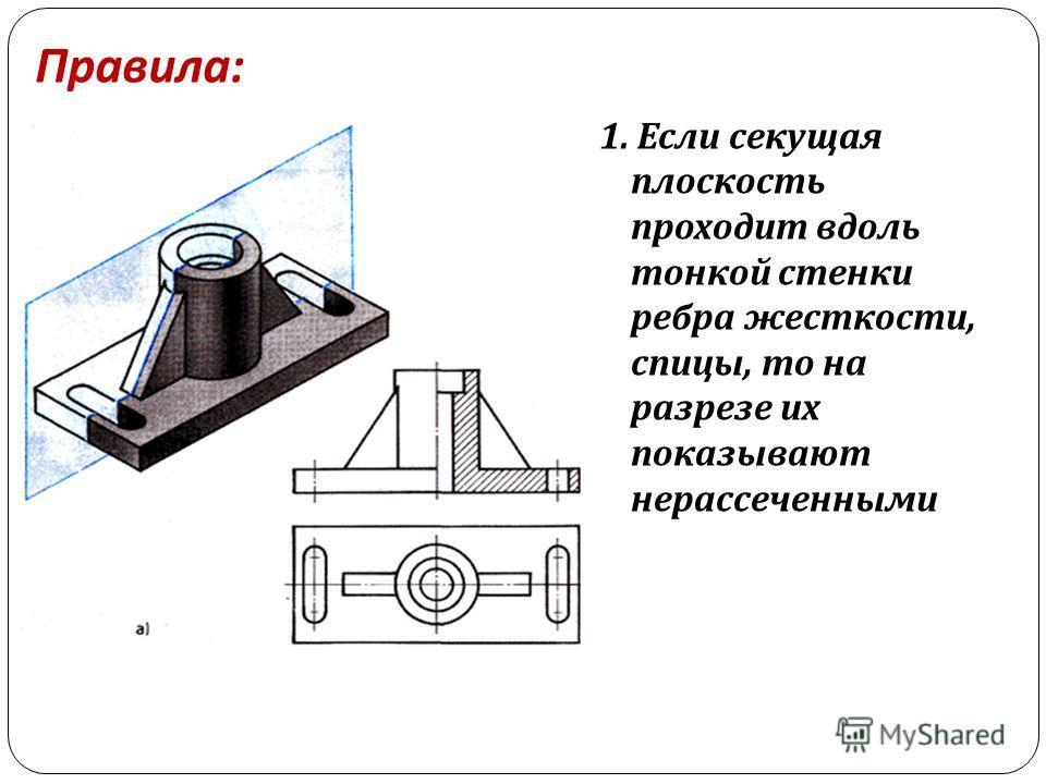 Правила : 1. Если секущая плоскость проходит вдоль тонкой стенки ребра жесткости, спицы, то на разрезе их показывают нерассеченными