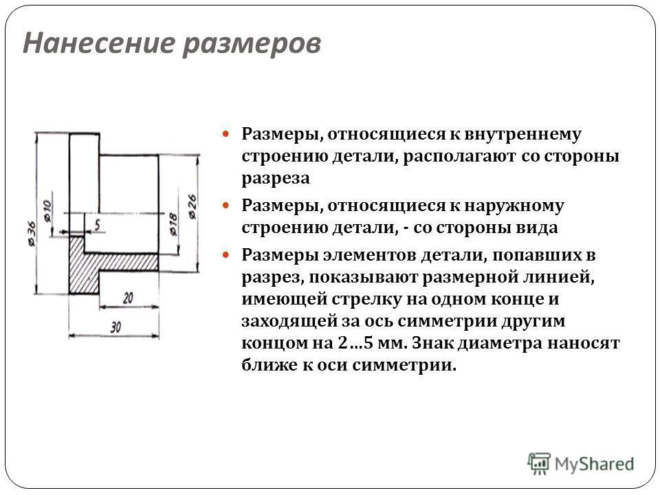 Нанесение размеров Размеры, относящиеся к внутреннему строению детали, располагают со стороны разреза Размеры, относящиеся к наружному строению детали, - со стороны вида Размеры элементов детали, попавших в разрез, показывают размерной линией, имеюще