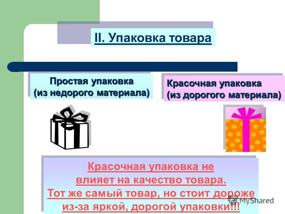 II. Упаковка товара Простая упаковка (из недорого материала) Простая упаковка (из недорого материала) Красочная упаковка (из дорогого материала) Красочная упаковка (из дорогого материала) Красочная упаковка не влияет на качество товара. Тот же самый