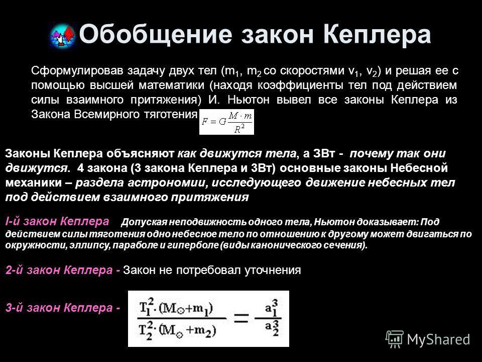 Обобщение закон Кеплера Сформулировав задачу двух тел (m 1, m 2 со скоростями v 1, v 2 ) и решая ее с помощью высшей математики (находя коэффициенты тел под действием силы взаимного притяжения) И. Ньютон вывел все законы Кеплера из Закона Всемирного