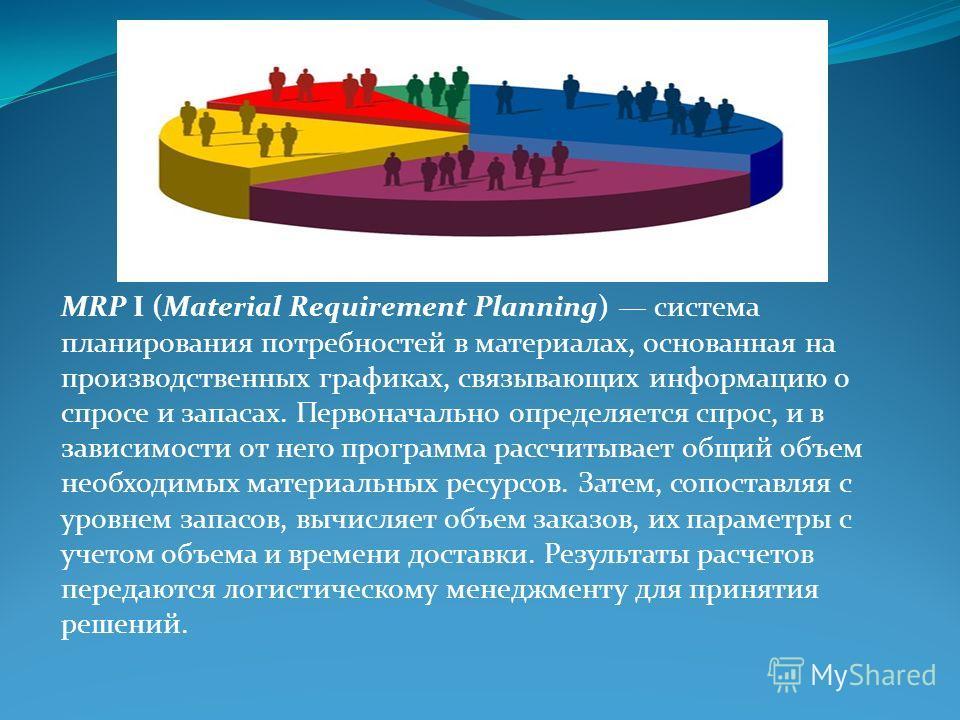 MRP I (Material Requirement Planning) система планирования потребностей в материалах, основанная на производственных графиках, связывающих информацию о спросе и запасах. Первоначально определяется спрос, и в зависимости от него программа рассчитывает