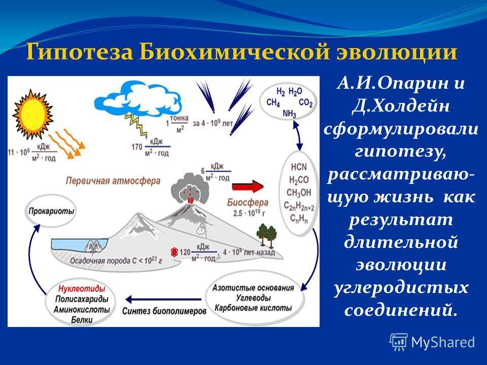 Гипотеза Биохимической эволюции А.И.Опарин и Д.Холдейн сформулировали гипотезу, рассматриваю- щую жизнь как результат длительной эволюции углеродистых соединений.