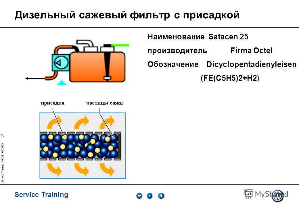 Service Training 20 Service Training, VK-21, 03.2005 Дизельный сажевый фильтр с присадкой Наименование Satacen 25 производительFirma Octel Обозначение Dicyclopentadienyleisen (FE(C5H5)2+H2)