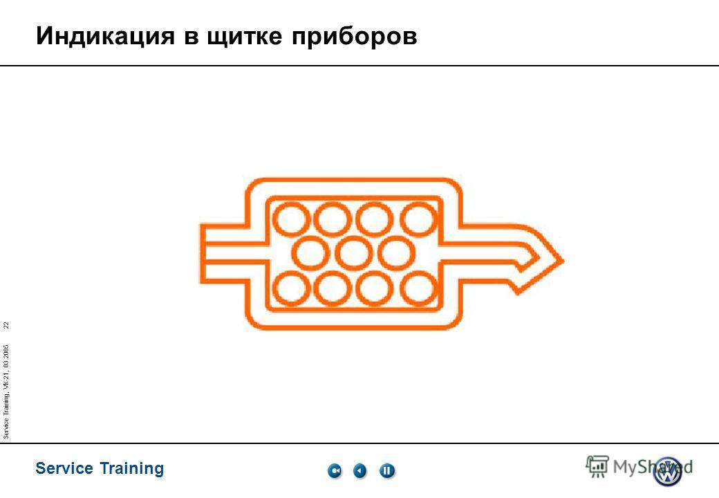 Service Training 22 Service Training, VK-21, 03.2005 Индикация в щитке приборов