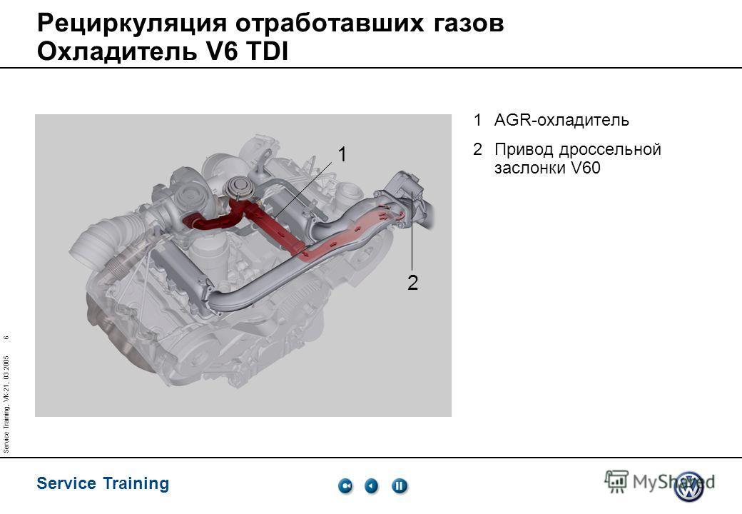Service Training 6 Service Training, VK-21, 03.2005 Рециркуляция отработавших газов Охладитель V6 TDI 1AGR-охладитель 2Привод дроссельной заслонки V60 1 2